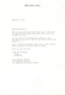 DOLORES (MRS. BOB) HOPE - TYPED LETTER SIGNED 08/04/1981