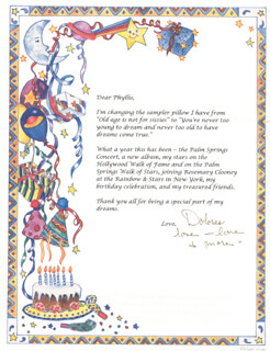 DOLORES (MRS. BOB) HOPE - TYPED LETTER SIGNED CIRCA 1997