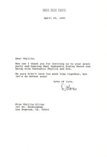 DOLORES (MRS. BOB) HOPE - TYPED LETTER SIGNED 04/20/1993
