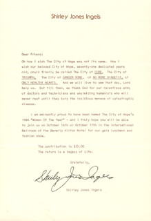 SHIRLEY JONES - TYPED LETTER SIGNED CIRCA 1984
