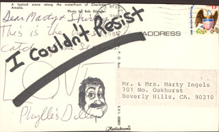 PHYLLIS DILLER - AUTOGRAPH NOTE SIGNED CIRCA 1981 CO-SIGNED BY: MARTY INGELS