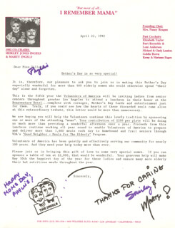SHIRLEY JONES - TYPED LETTER SIGNED CO-SIGNED BY: MARTY INGELS