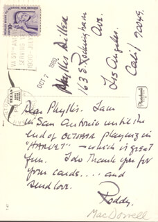 RODDY McDOWALL - AUTOGRAPH LETTER SIGNED CIRCA 1980