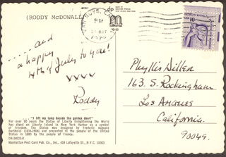 RODDY McDOWALL - AUTOGRAPH NOTE SIGNED CIRCA 1979
