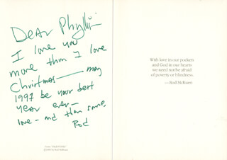 ROD MCKUEN - POEM SIGNED 1997