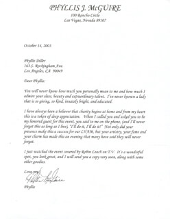 THE McGUIRE SISTERS (PHYLLIS McGUIRE) - TYPED LETTER SIGNED 10/14/2003