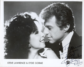 STEVE LAWRENCE - INSCRIBED PRINTED PHOTOGRAPH SIGNED IN INK CO-SIGNED BY: EYDIE GORME