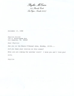 THE McGUIRE SISTERS (PHYLLIS McGUIRE) - TYPED LETTER UNSIGNED 12/17/1996