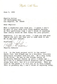 THE McGUIRE SISTERS (PHYLLIS McGUIRE) - TYPED LETTER SIGNED 06/05/1995