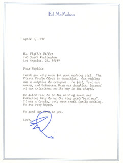 ED McMAHON - TYPED LETTER SIGNED 04/01/1992