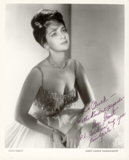 GOGI GRANT - INSCRIBED PRINTED PHOTOGRAPH SIGNED IN INK