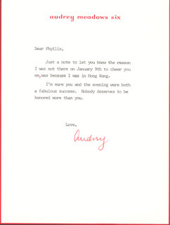 AUDREY MEADOWS - TYPED LETTER SIGNED