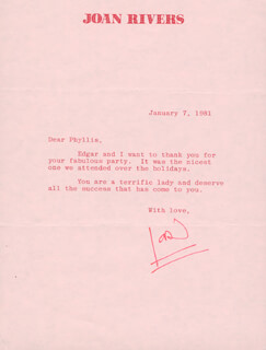 JOAN RIVERS - TYPED LETTER SIGNED 01/07/1981