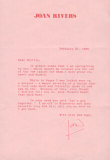 JOAN RIVERS - TYPED LETTER SIGNED 02/21/1980