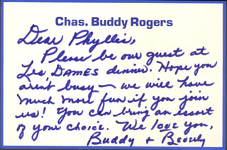 CHARLES BUDDY ROGERS - AUTOGRAPH LETTER SIGNED