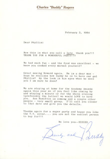 CHARLES BUDDY ROGERS - TYPED LETTER SIGNED 02/03/1984 CO-SIGNED BY: BEVERLY RICONO ROGERS