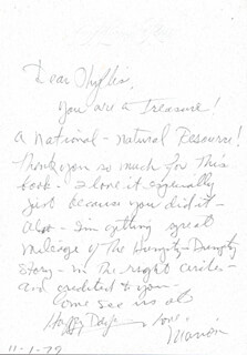 MARION ROSS - AUTOGRAPH LETTER SIGNED 11/01/1979