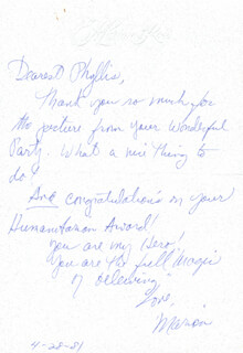 MARION ROSS - AUTOGRAPH LETTER SIGNED 04/28/1981