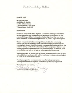 ALEXANDRA SHELDON - TYPED LETTER SIGNED 06/22/2003