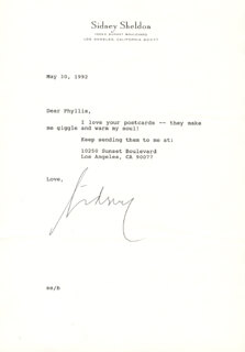 SIDNEY SHELDON - TYPED LETTER SIGNED 05/30/1992