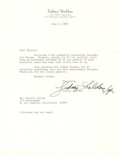 SIDNEY SHELDON - TYPED LETTER SIGNED BY A DEPUTY 07/02/1984