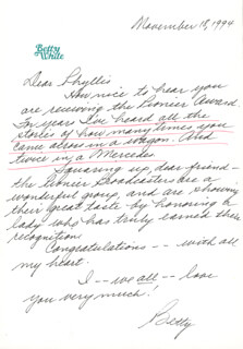 BETTY WHITE - AUTOGRAPH LETTER SIGNED 11/18/1994