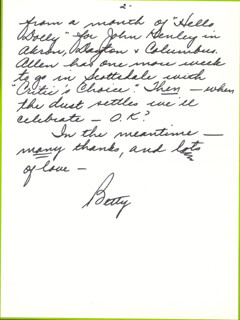 BETTY WHITE - AUTOGRAPH LETTER SIGNED 08/27/1979
