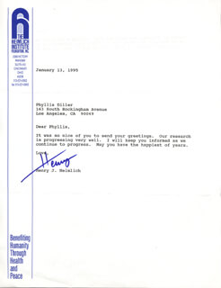 HENRY J. HEIMLICH - TYPED LETTER SIGNED 01/13/1995