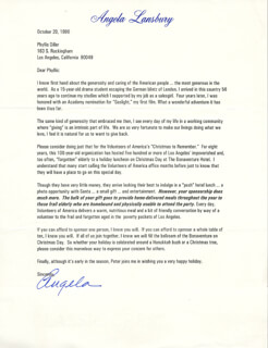 ANGELA LANSBURY - TYPED LETTER SIGNED 10/20/1996
