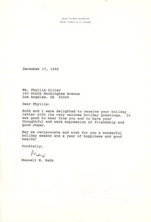 MAXWELL M. RABB - TYPED LETTER SIGNED 12/17/1992
