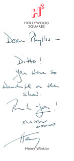 HENRY THE FONZ WINKLER - AUTOGRAPH NOTE SIGNED CIRCA 2002