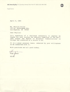 HUGH DOWNS - TYPED LETTER SIGNED 04/06/1995