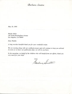 BARBARA SINATRA - TYPED LETTER SIGNED 05/18/1995