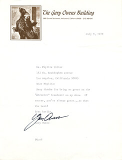 GARY OWENS - TYPED LETTER SIGNED 07/09/1979