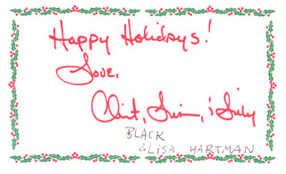 LISA HARTMAN - CHRISTMAS / HOLIDAY CARD SIGNED CIRCA 12/2001