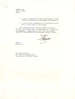NORMAN LEAR - TYPED LETTER SIGNED 07/11/1984