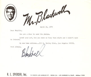 MR. (RICHARD SELZER) BLACKWELL - TYPED LETTER SIGNED 03/26/1979