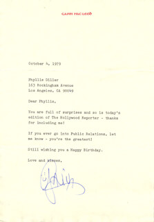 GAVIN MacLEOD - TYPED LETTER SIGNED 10/04/1979