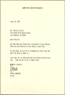 STEVE LAWRENCE - TYPED LETTER SIGNED 06/13/1979