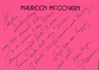 MAUREEN McGOVERN - AUTOGRAPH LETTER SIGNED
