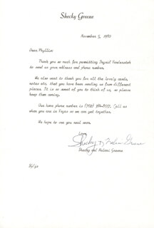 Autographs: SHECKY GREENE - TYPED LETTER SIGNED 11/05/1980 CO-SIGNED BY: NALANI KELE