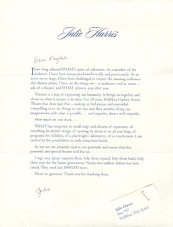 JULIE HARRIS - TYPED LETTER SIGNED CIRCA 2003