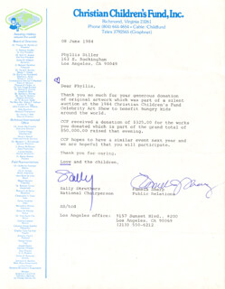 SALLY STRUTHERS - TYPED LETTER SIGNED 06/08/1984