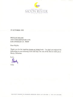 ANDY WILLIAMS - TYPED LETTER SIGNED 10/25/1993