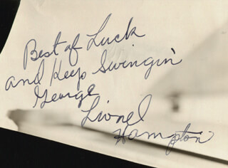 LIONEL HAMPTON - INSCRIBED SIGNATURE