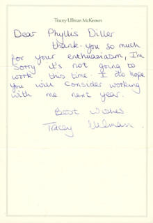 TRACEY ULLMAN - AUTOGRAPH LETTER SIGNED