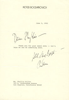 PETER BOGDANOVICH - TYPED LETTER SIGNED 06/03/1992