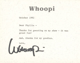 WHOOPI GOLDBERG - TYPED LETTER SIGNED 10/1992