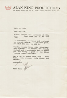 ALAN KING - TYPED LETTER SIGNED 07/30/1993