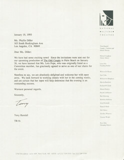TONY RANDALL - TYPED LETTER SIGNED 01/19/1993